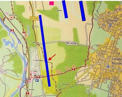 La terza pista in previsione arriverebbe in prossimità del Mobilificio Moro devastando un'area di grande pregio ambientale come se non bastassero i danni sul Parco del Ticino già procurati.