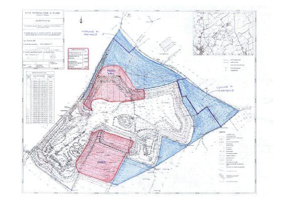 In rosso le aree in concessione per lo scavo. A nord l'area della Fase 1 e a sud l'area del Bosco Quadro nella Fase 2.
